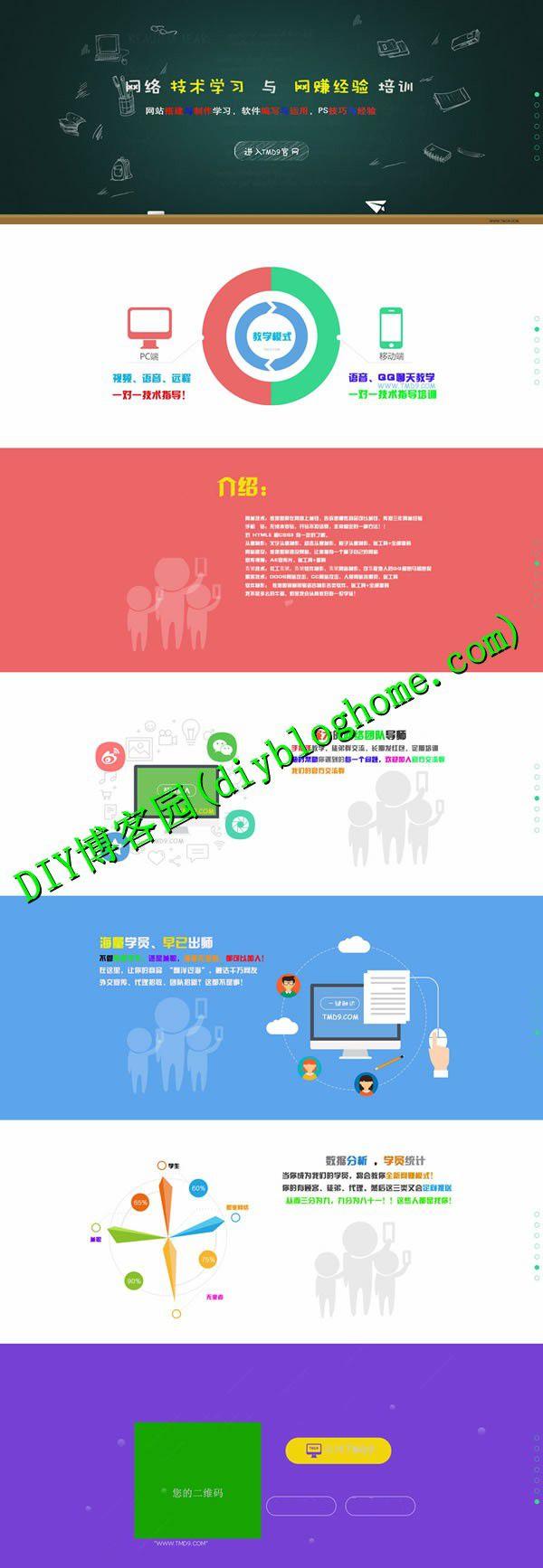 很漂亮的网络技术单页模板 HTML5引导页源码