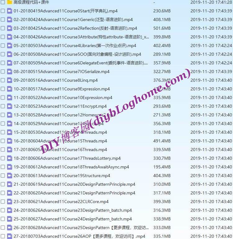 收集整理软谋ASP.NET高级班11期视频教程无加密+课程代码及课件