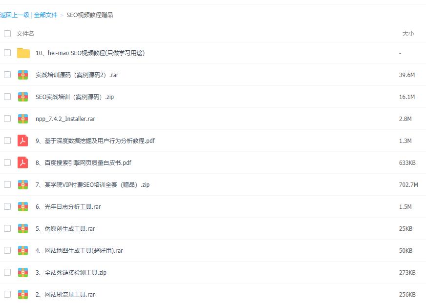 seo网站优化教程+安例源码+seo工具+seo白皮书